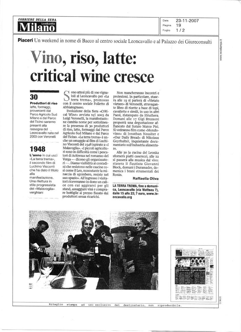 Vino, riso latte: critical wine cresce - Corriere della Sera