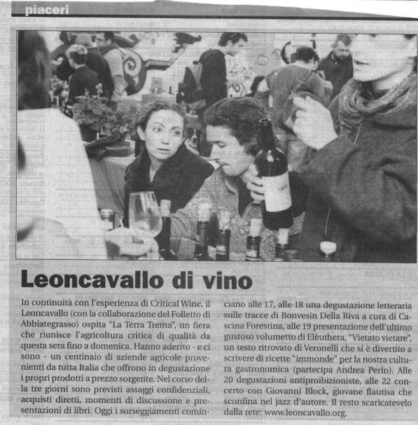 """""""Leoncavallo di vino"""" - Il Manifesto"""